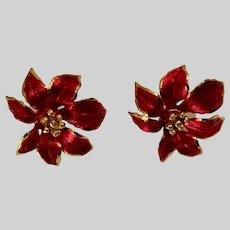 Christmas Poinsettia Flower Earrings Gerrys With Stud Posts for Pierced Ears