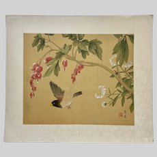 Chinese Flowers and Bird Casein Watercolor Painting