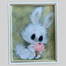 Adorable Anthropomorphic Bunny Eating an Ice Cream Cone Oil Painting