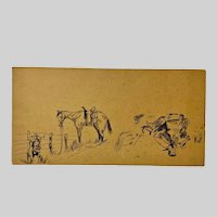 Fanny Peterson, Pen and Ink Three Western Cowboy Sketches