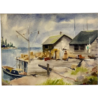 Margaret Schaller, Harbor Fishing Shack Coastal Watercolor Painting