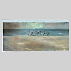 Makara, Horses Running on a Beach Coastal Oil Painting