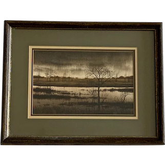 E Bailey, Stormy Dat At The Pond Photo Realism Watercolor Painting