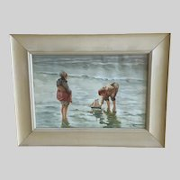 Van Bercn, Children Playing With Toy Sailboat Coastal Watercolor Painting