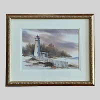 Michael D Holter, Coastal Lighthouse Watercolor Painting