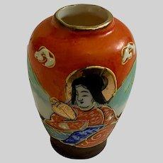 Vintage Dollhouse Miniature Geisha Girl Hand Painted Japan Vase