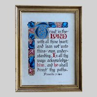 Vintage Jonathan Blocher Scripture Art Calligraphy Signed Numbered Serigraph
