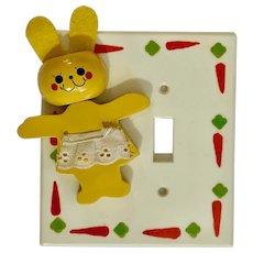 Mid-Century Baby Nursery Anthropomorphic Bunny Rabbit Single Light Switch Plate