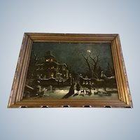 Victorian House Moon Lit Night Scene Mid-Century Print