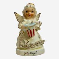 Mid-Century Napco July Birthday Angel Spaghetti Trim Ceramic Figurine Japan