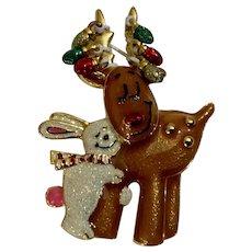 Bunny Hugging Christmas Reindeer Brooch Pin
