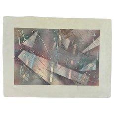 Catherine Ruane, Stellar Geometric Abstract Mixed Media Painting