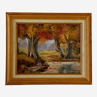 M Hopwarth, Autumn Trees In Pond Landscape Acrylic Painting