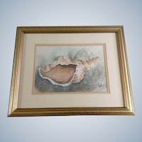 C R Woods, Conch Shell Watercolor Painting Signed by Artist
