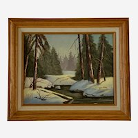 M Hopwarth, Frozen River Through The Woods Landscape Acrylic Painting