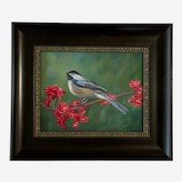 Devyn Brewer, Chickadee Bird on a Branch Oil Painting