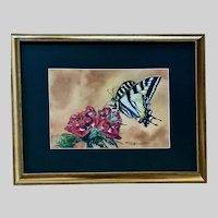 Liz Huffman, Swallowtail Butterfly Moth on Flower Cluster Still Life Watercolor Painting