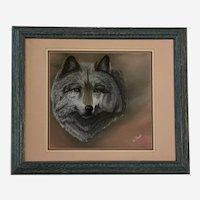 M Clark, Gray Wolf Portrait Pastel Painting