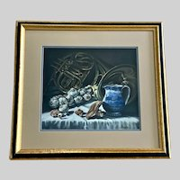 Larry (Lawrence) Levow, Chef's Still Life Table with A French Horn Pastel Painting