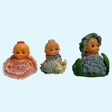 Mid-Century Miniature Dolls with Knitted Outfits Group of 3