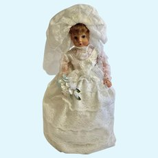 1950s Eegee Bride Doll 28 inches Vinyl with Two Bouquets