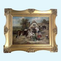 Walter Hunt (1861-1941) Feeding Time 1896, Old Master Oil Painting Signed by Listed Artist