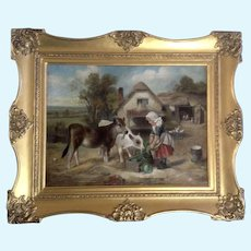 Walter Hunt (1861-1941), Old Master Oil Painting, Feeding Time 1896