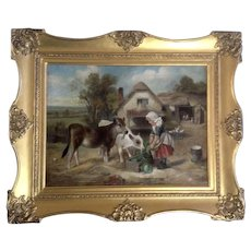 Walter Hunt (1861-1941) Feeding Time 1896, Old Master Figural Oil Painting on Canvas Signed by Listed Artist