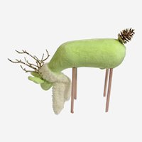 Rare Lime Green Christmas Reindeer Deer Figurine with Glitter Antlers and Tail