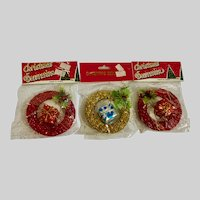 Vintage Gold and Red Glitter Ornaments NIB
