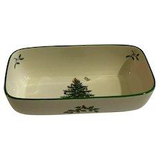 "Spode Christmas Tree Cranberry Bowl 8"" Serving Dish"