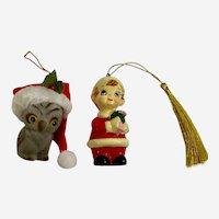 1970s Flocked Owl and Santa Boy Christmas Ornaments