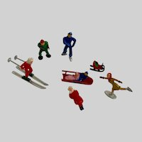 Mid-Century Figural Winter Christmas Cake Toppers Skier Ice Skaters Figurines