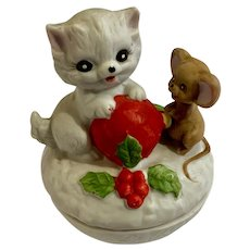 George Good Christmas Cat & Mouse Covered Ceramic Trinket Box
