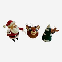 Rudolph The Red Nose Reindeer Santa And Tree Christmas Cartoon Figure Ornament