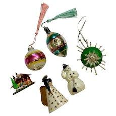 Mid-Century Christmas Decorations Snowman Nativity Angel Mercury Glass Ornaments Group