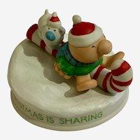 Christmas is Sharing Ziggy & Fuzz Tom Wilson Cartoon Character Figurine 1981