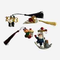 Vintage Hallmark Christmas Ornaments Skunk, Elf, Bear and Sailor Santa