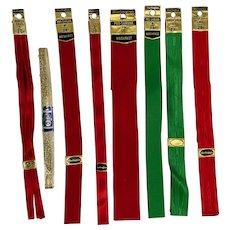 Mid-Century Burlington Christmas Ribbon For Packages or Trim Ephemera 8 Pieces