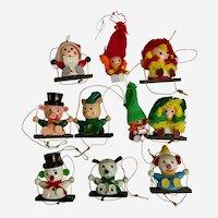Vintage Christmas Wooden Handmade Ornaments 10 Piece
