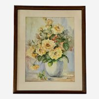 Rose Bouquet in Vase Still Life Watercolor Painting