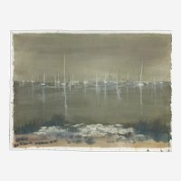 Sara L. Uffelman, Boat Reflections Watercolor Painting Listed Artist