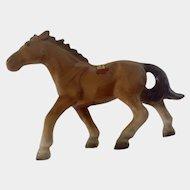 Brown Horse, Bone China Miniature Figurine Souvenir of New Orleans Louisiana Hand Painted Japan Mid-Century