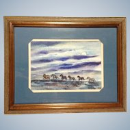 Thomas J Owens, Original Galloping Horses Watercolor Painting Signed By Listed Artist 1980's Colorado Artist NWS / AWS, Wild Horses Running In Late Evening