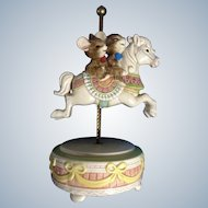 Otagiri Carousel Music Box Happy Laughing Mice Riding a Horse Gibson Greetings, Inc. Hand Painted Figurine Japan