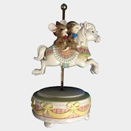 Otagiri Japan Happy Laughing Mice Riding a Carousel Horse Music Box Gibson Greetings, Inc. Hand Painted Figurine