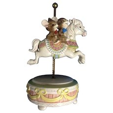 Otagiri Japan Happy Laughing Mice Riding a Carousel Horse Music Box Gibson Greetings, Inc. Hand Painted Figurine