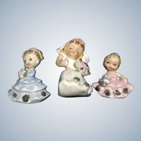 Vintage Norcrest Girl Figurines Bride, Bridesmaid & Flower Japan