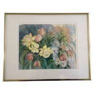 Marilyn Kirkman, Flower Watercolor titled, 'Spring' Colorado Artist Works on Paper Signed by Artist