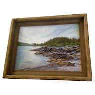 Patricia Munz, Acrylic Painting, Prince William Sound, Alaska, Mossy Rocks Signed by Artist